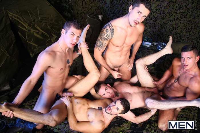 Paddy O'Brian leads a gay military orgy in The Drill Sergeant