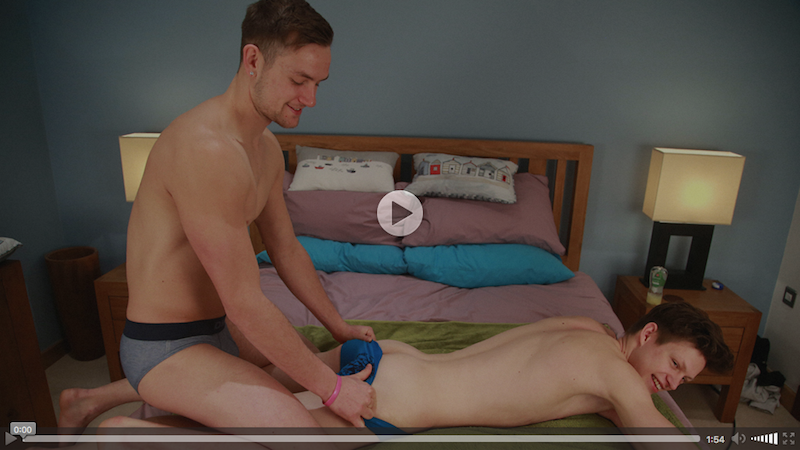 Young Lad Ryan Ledson gets his First Wank from a Guy and Cums on his Abs and Chest