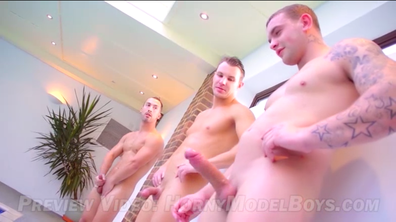 4 horny straight guys wank their cocks together and have fun