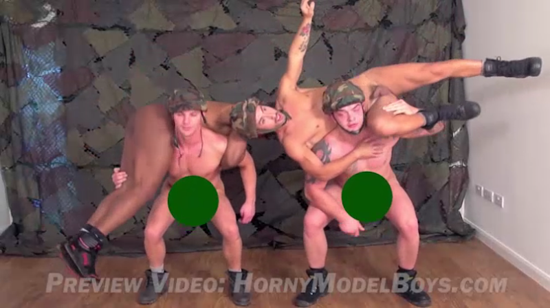 4 straight guys get their cocks out for an army medical video
