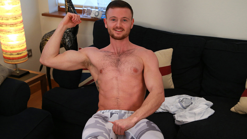 Straight Boxer James Strips & Shows us his Hairy Body and Rock Solid Uncut Cock