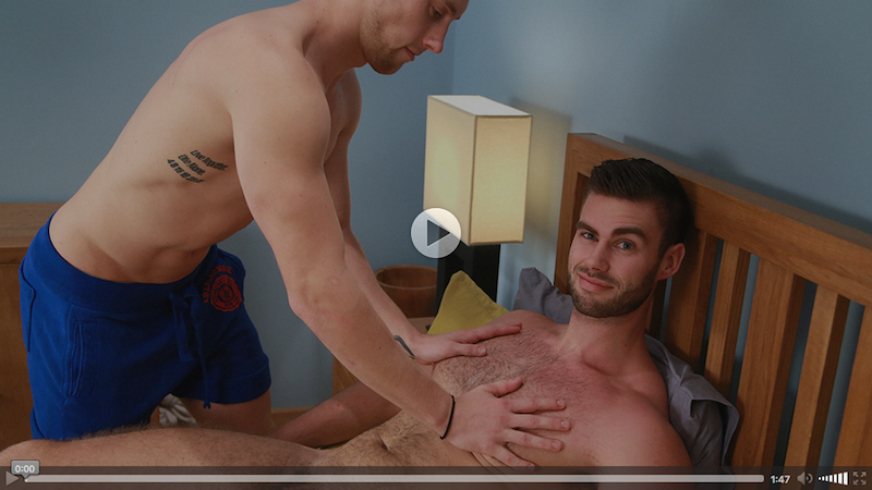 Muscular Tom Gets his 1st Manhandling & Man Blow Job!