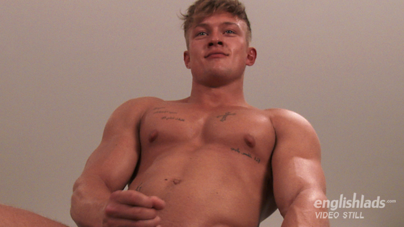 Muscle boy Albie Wicks wanking at EnglishLads