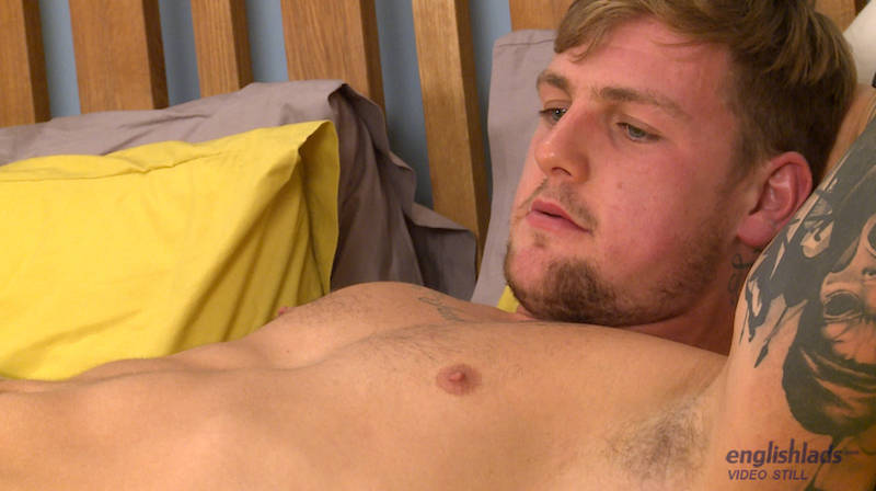 Straight British muscle boy Ralph Clifford wanking his uncut dick