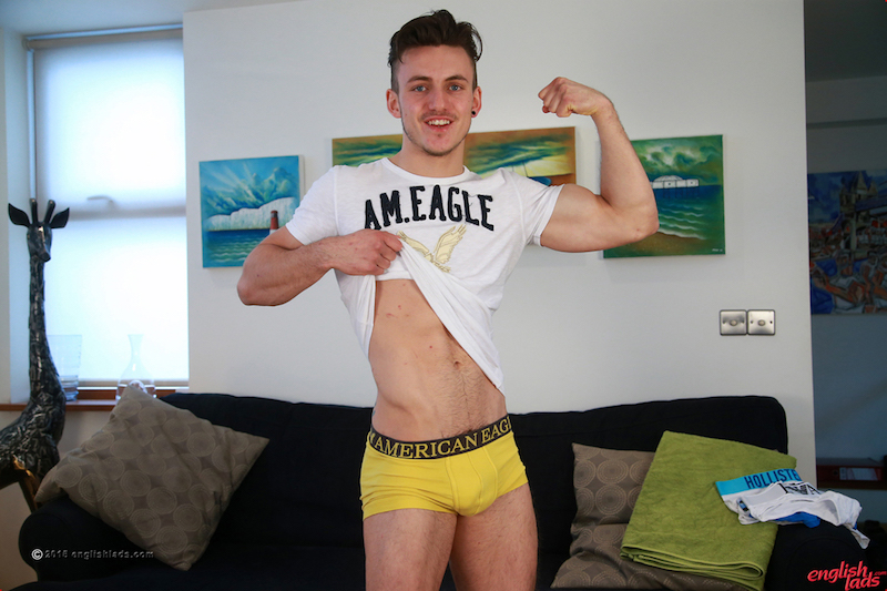 Ultra Ripped Young Athlete Travis Pumps his Uncut Erection & Shows That Hairy Hole