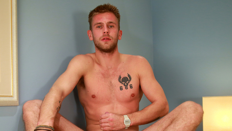 Jenson Shaw wanking his 8-inch uncut cock on video